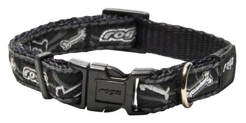 Rogz Side Release Collar Black Bones Dog Collar Small Medium Large XL