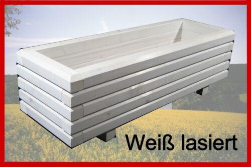 Massiccio pflanzkasten 120x50x48 cm legno 6//4cm Cassetta per fiori bianco trogolo lasiert