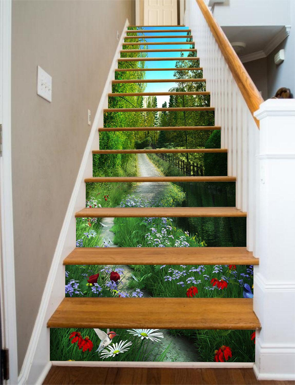 3D Trees Road 7 Stair Risers Decoration Photo Mural Vinyl Decal WandPapier UK