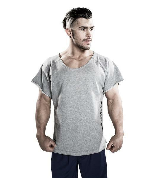 MENS IRON TANKS GYM BODYBUILDING RETRO RAW RAG TOP TRAINING T SHIRT S014 GREY