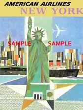 """American Airlines ( New York ) -11"""" x 17"""" Collector's Travel Poster Print -B2G1F"""