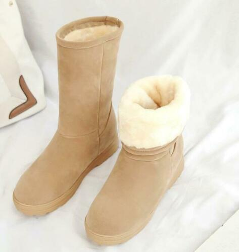 Ladies Flat Round Toes Faux Suede Snowy Winter Mid-calf Boots Warm Casual Shoes
