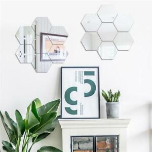 Geometric Hexagon Mirror Wall Sticker Holographic 7 Pcs Extra Big