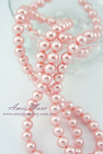 110PCS 8mm Glass Pearl Spacer Pink Color Round DIY Imitation Loose Pearl Beads
