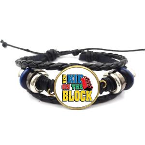New Kid on the block Verre Cabochon Bracelet Tressé En Cuir Bracelet Bracelet