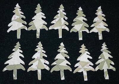 PRIM!! 10 PRIMITIVE ANTIQUE CUTTER QUILT TREES! SAGE GREEN /& WHITE