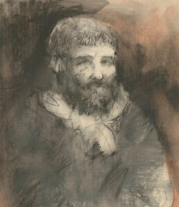 Mid 20th Century Charcoal Drawing - Portrait of a Man with a Beard
