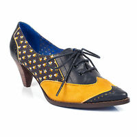 NEW IRREGULAR CHOICE/POETIC LICENCE *MADAME POINTY*MUSTARD/NAVY(A) LACE UP HEELS