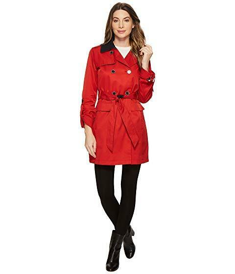 Vince Camuto DB Belted Trench with Contrast color and Roll Up Sleeves size M