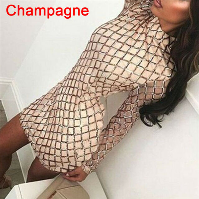 Women's Autumn Winter Dress Sexy Long Sleeve Dresses Sequin Party Bodycon Dress: