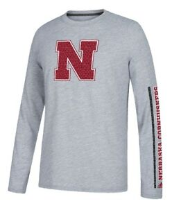 37243c9c Details about Nebraska Cornhuskers Adidas NCAA Play to Win Men's Climalite  Long Sleeve T-shirt