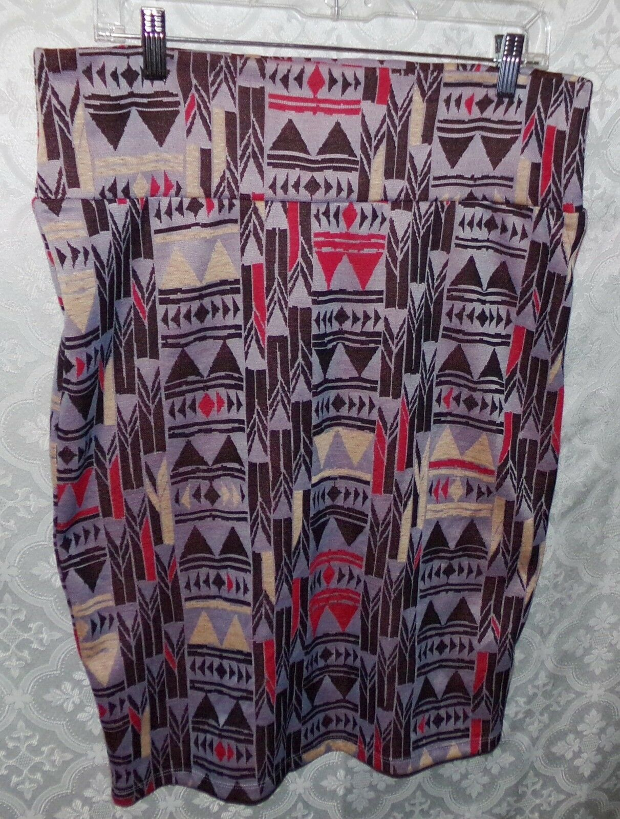 LulaRoe Simply Comfortable Womens Straight Pencil Skirt XL Purple Geometric
