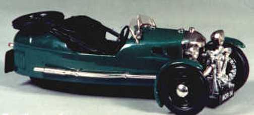 Morgan 3 hjulers sportutrustning - vit metallmodellllerl att montera och måla