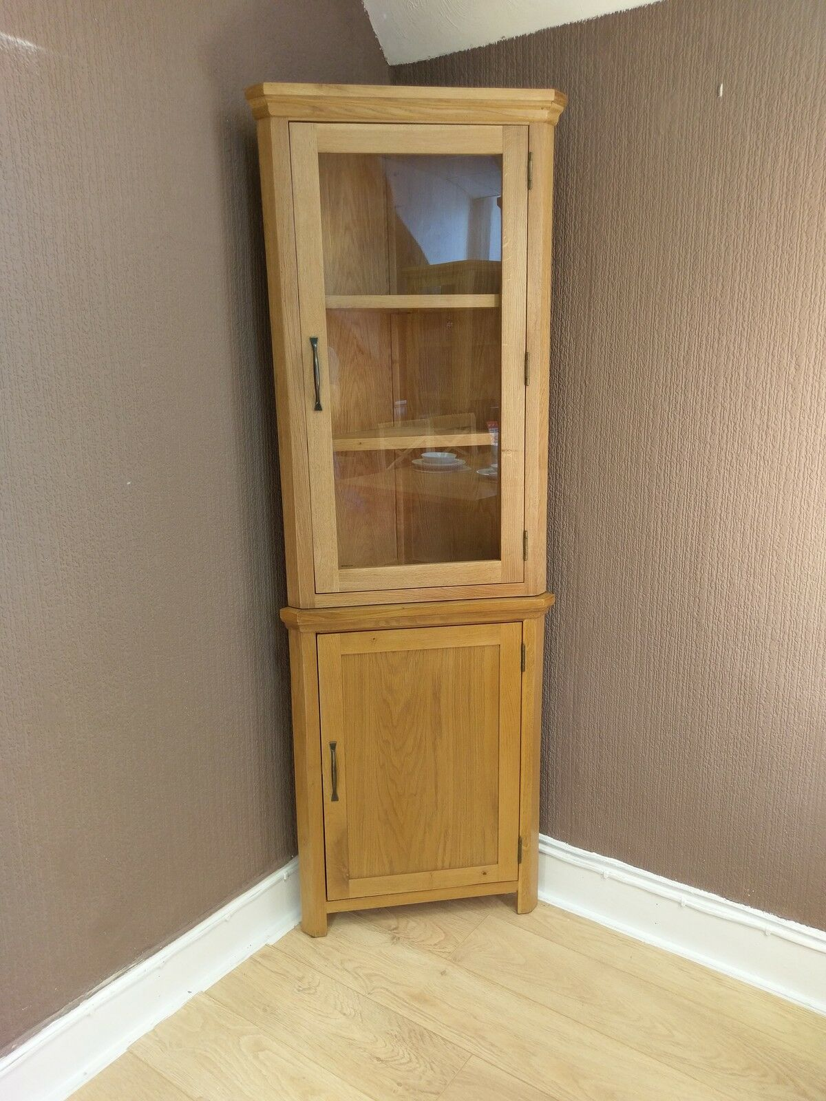 Corner Exhibition Stands Tallahassee : Toronto solid oak tall corner display cabinet cupboard