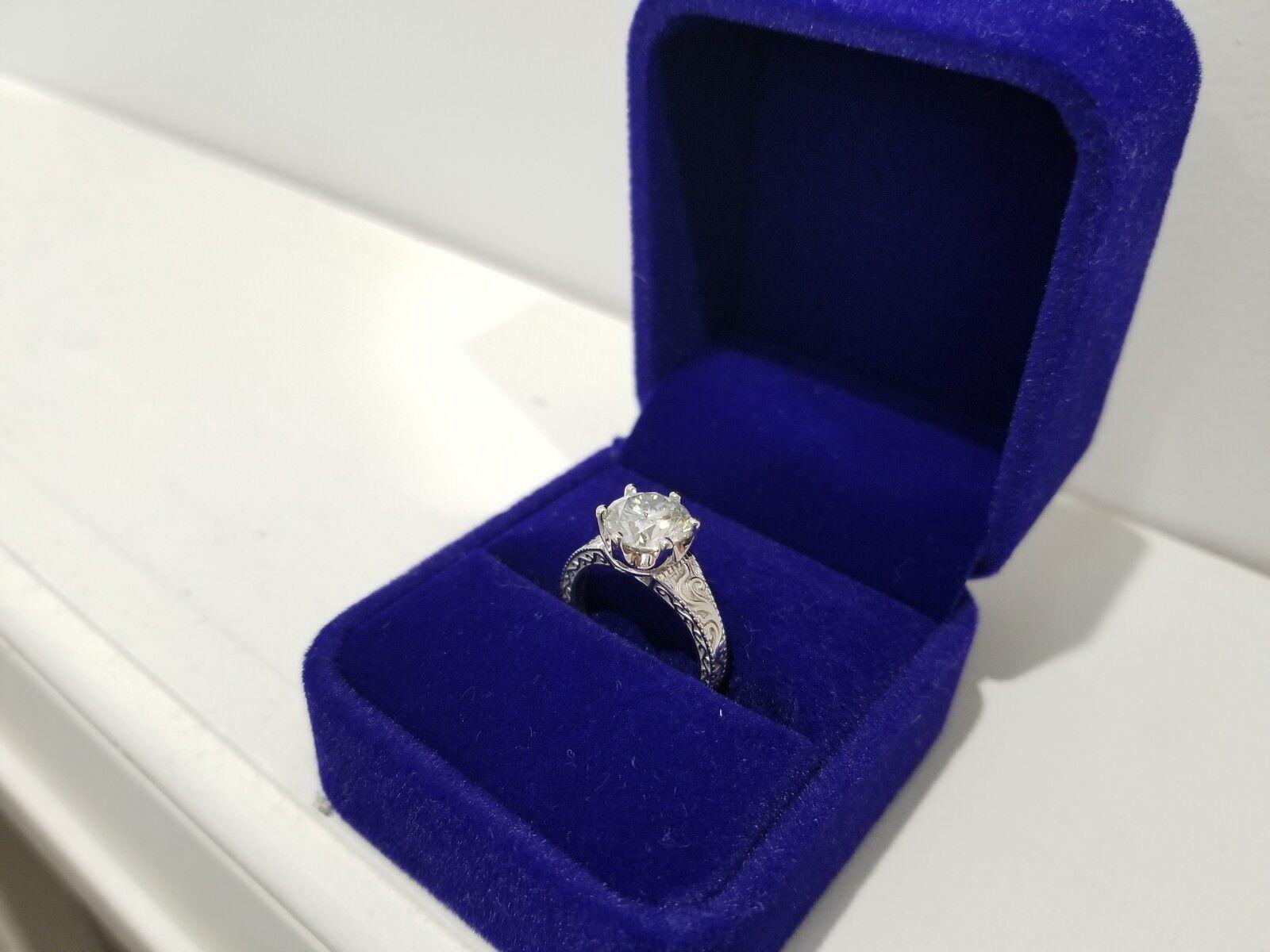 2.00 CT Moissanite 18k White gold Engagement Wedding Ring Size 5