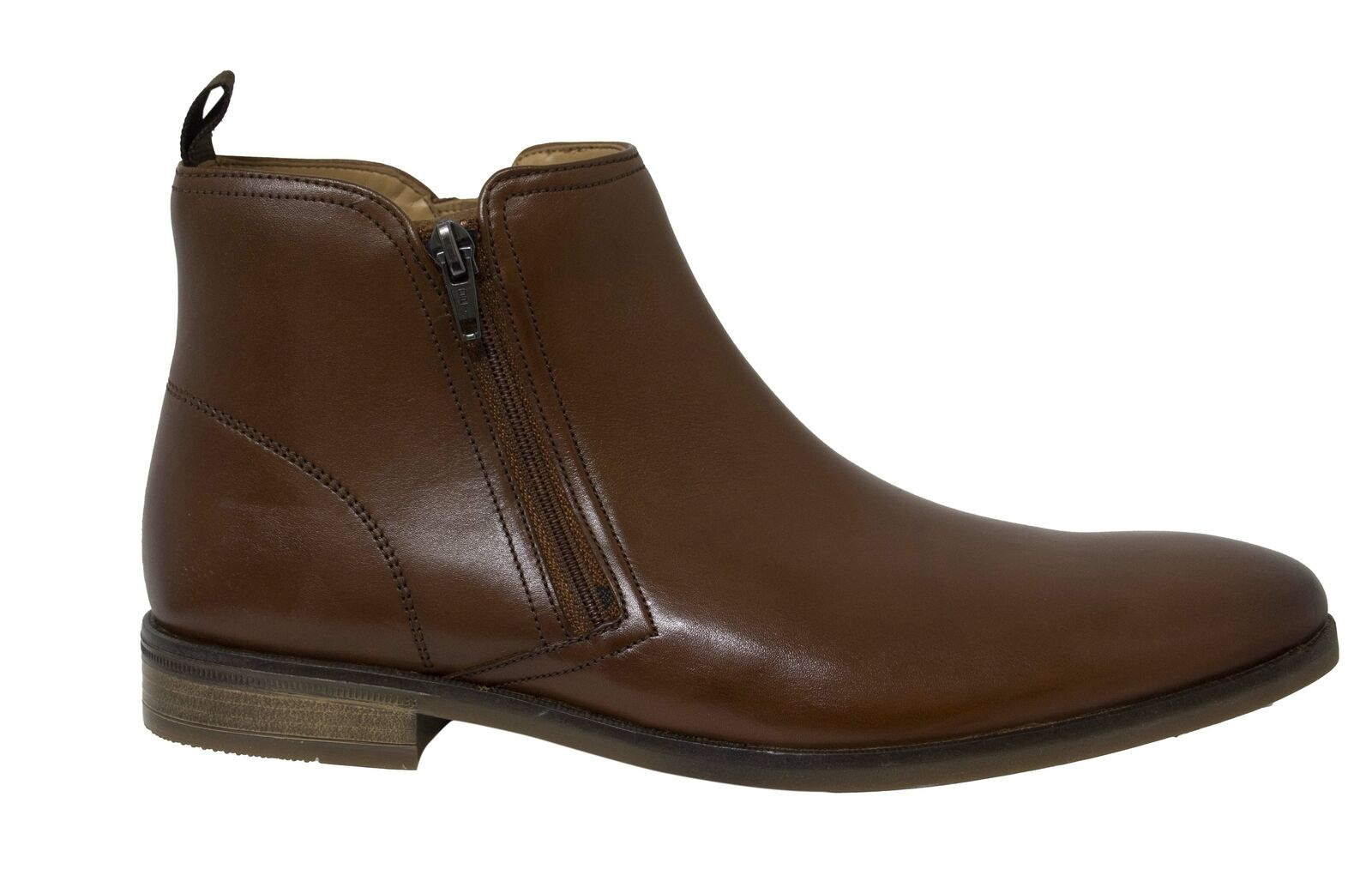 Clarks Stanford Zip Tan Brown Leather Mens Chelsea Boots 261475687