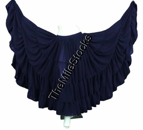 25Color Navy Blue TMS 16 Yard 4 Tiered Skirt Belly Dance Gypsy Flamenco Club