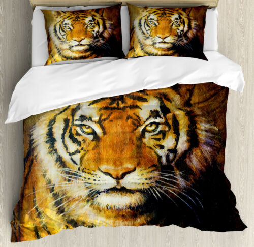 Tiger Duvet Cover Set with Pillow Shams Oil Painting Style Animal Print