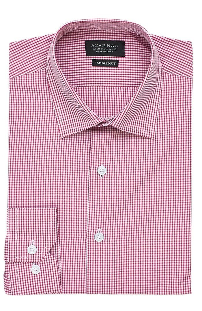 New Mens Dress Shirt Plaid Red Tailored Slim Fit Wrinkle Free Cotton By AZAR MAN