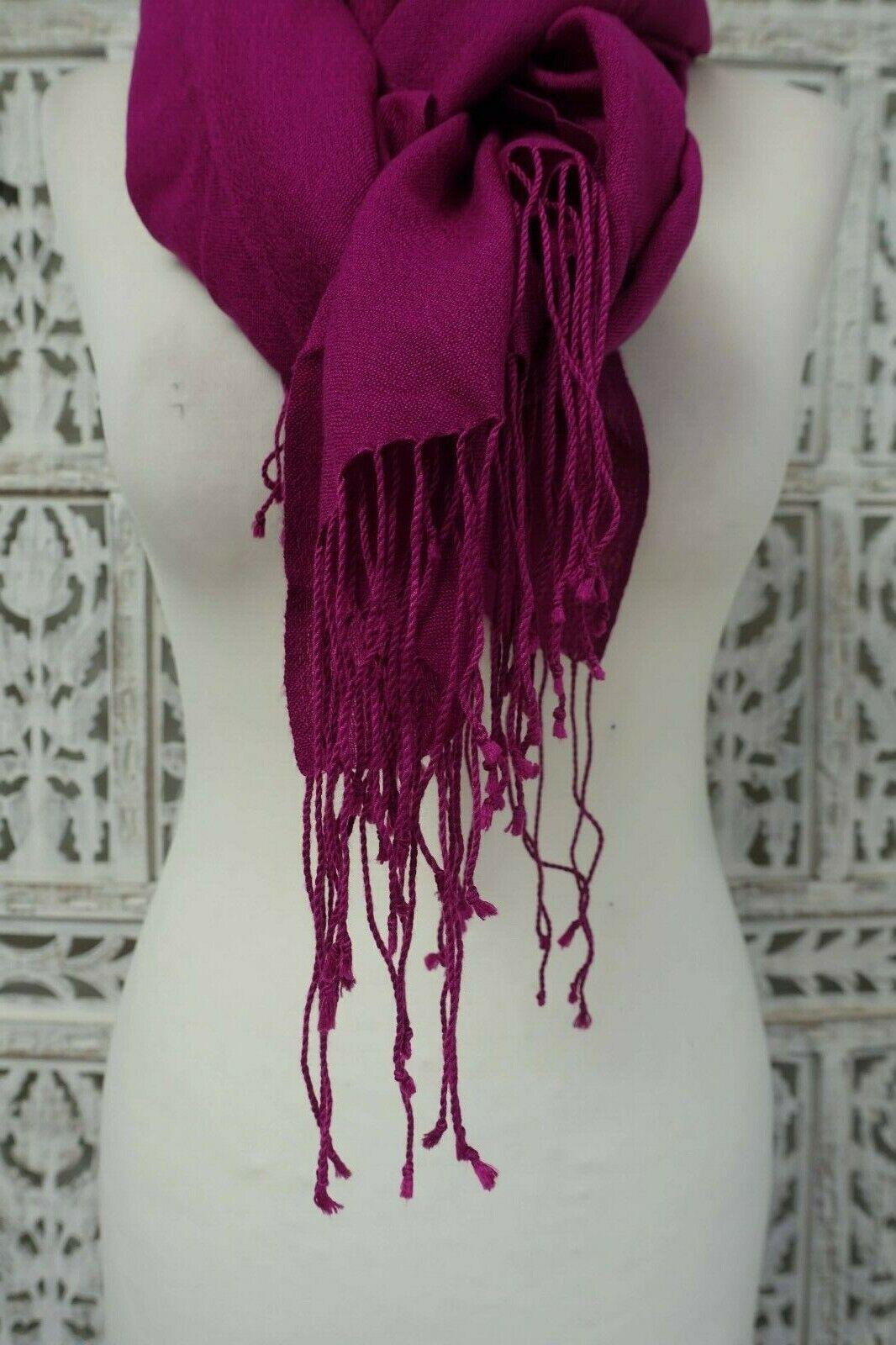 Purple soft wool blend with twisted fringe shawl dupatta Bollywood SKU15598