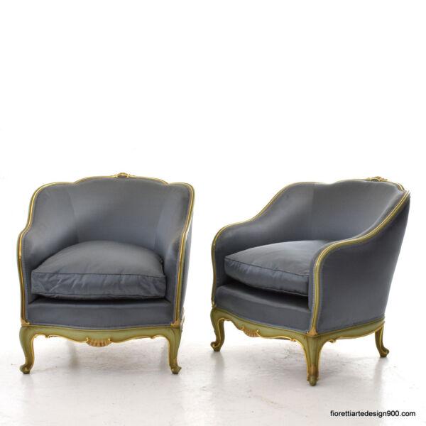 2 Poltrone Stile Luigi Xv Raso Cotone Dorature Lacche Old Furniture Armchairs