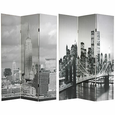 Oriental Furniture 6 ft. Tall Double Sided New York Scenes ...