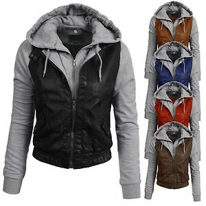 Leather Jacket With Hood Womens Photo Album - Reikian