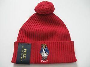 36571ecab POLO RALPH LAUREN Red Ski Bear Pom-Knit Cuffed Beanie Hat One Size ...