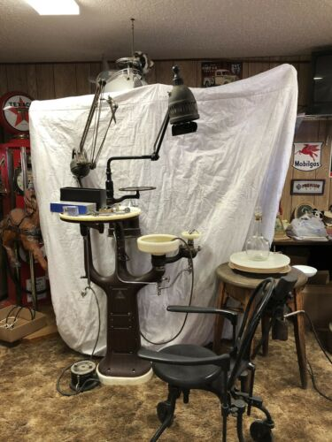 Early 30's Vintage Dental Chair, Tools and Equipment - REDUCED PRICE!!!!!!!