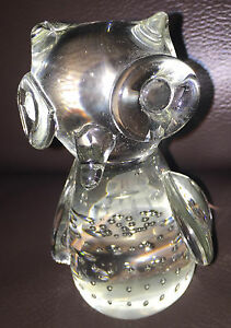 Glass-Bubble-Owl-Ornament-Paperweight-Figure-9cm-High