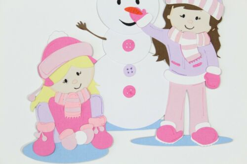 WINTER PLAY Paper Piecing Premade Scrapbook Border Scrapbooking Boy Girl Snowman