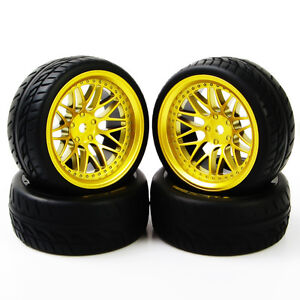 RC-4Pcs-Run-Flat-Tires-Wheel-12mm-Hex-BBG-For-HSP-HPI-1-10-On-Road-Racing-Car