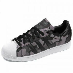 Detalles de Nuevas zapatillas para hombre Adidas Originals Superstar Negro Gris Camuflaje UK Size 9 ver título original