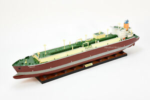 """Q-Max LNG Gas Carrier Handmade Wooden Ship Model 39"""" Scale 1/350"""