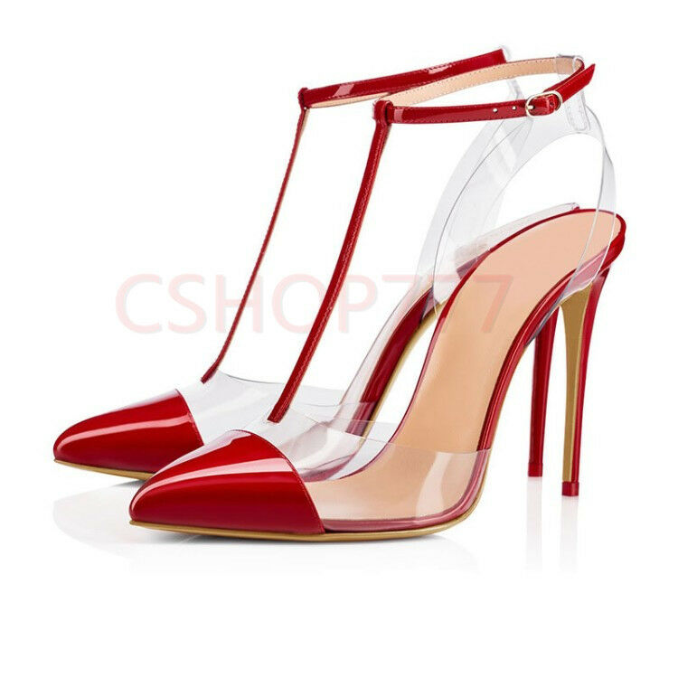 donna Sexy pointy Toe Toe Toe T strap Buckle slim high heels transparent sandals scarpe 7f6fd7