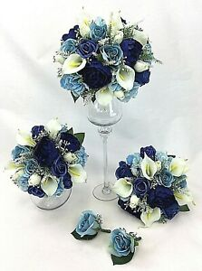 Hand Tied Real Touch Calla Lilies Blue Cream Peonies Roses Wedding Bouquet Set Ebay