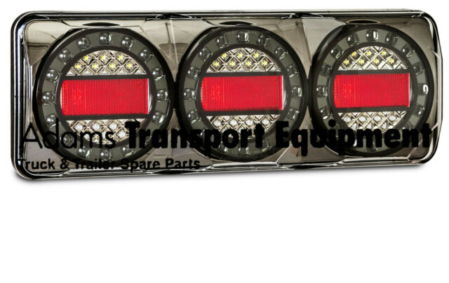 LED Autolamps Black Chrome 1x MaxilampC3XRW Stop/Tail/Ind/Rev 12/24V 4WD & Truck