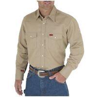 Wrangler Men's Flame Resistant Khaki Work Western Snap Shirt - Fr12140