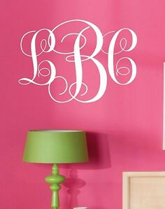 Image is loading Monogram-Initials-Vinyl-Wall-Decal -Lettering-Words-Personalized-  sc 1 st  eBay & Monogram Initials Vinyl Wall Decal Lettering Words Personalized ...
