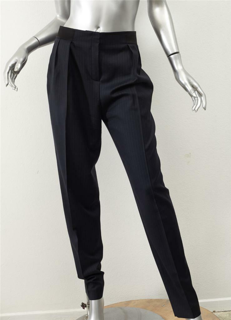 PALLAS Womens Dark Navy Pinstripe Satin Waistband Trousers Dress Pants 38 6