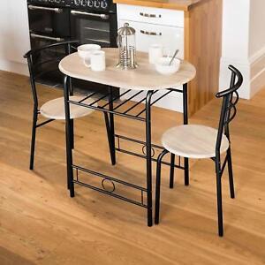 Dettagli su Piccolo TAVOLO IN CUCINA E 2 sedie salvaspazio Set da Pranzo  Colazione Bar Nero- mostra il titolo originale