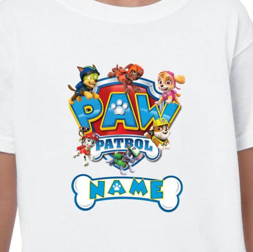 Paw PATROL personalizzata nome T-Shirt Stampata Bambini compleanni regali età 1-13 NUOVO
