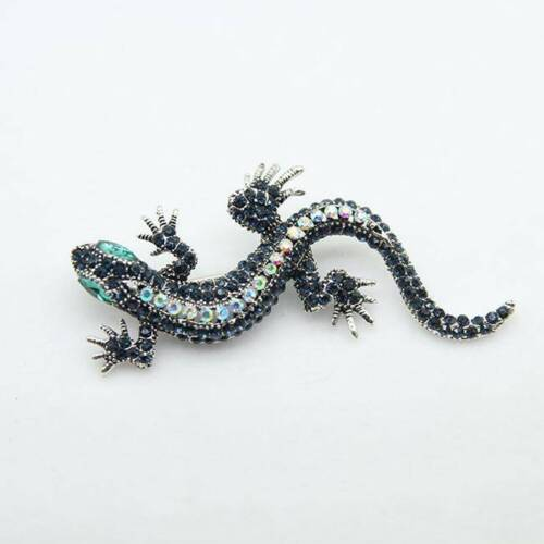 Women/'s Rhinestone Vintage Sparkling Gecko Lizard Fastener Brooch Animal Pin TO