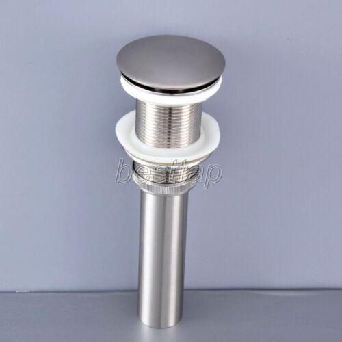 Brushed Nickel Brass Pop Up Bathroom Vessel Sink Drain Without Overflow ssd072