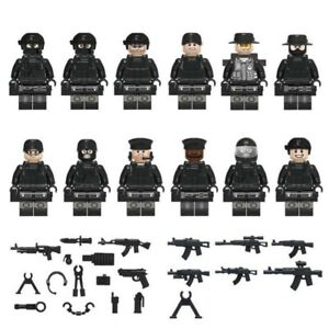Police-Swat-Minifigures-Tactical-Police-Minifigs-Soldiers-Military-Guns-Weapons
