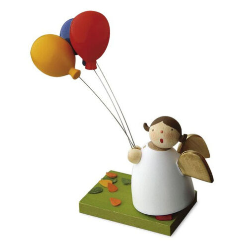 # Günter Reichel N.431.1.0 Schutzengel mit 3 bunten Luftballons Erzgebirge NEU