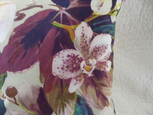 "18/"" inch Cushion Cover Purple Pink Green Teal Flower Orchid Print Handmade 45cm"