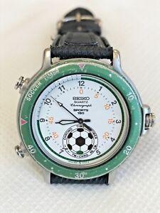 VTG-Rare-SEIKO-Chronograph-8M32-8019-Soccer-Timer-Quartz-Men-039-s-Watch