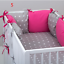 PILLOW-BUMPER-made-form-6-cushions-for-cot-bed-GREY-PINK-BLUE-NAVY-STARS thumbnail 6