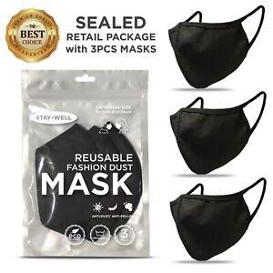 3-PCS-Face-Mask-Black-Fashion-Mask-Washable-Reusable-Unisex-Mask-US-SELLER